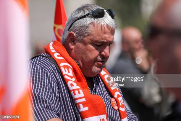 French workers union CGT general secretary Didier Aubert takes part in a gathering of employees of the stateowned rail operator SNCF called by CGT...