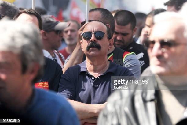 French workers union CGT general secretary Philippe Martinez takes part in a demonstration on April 19 2018 in Paris as part of a multi branch day of...