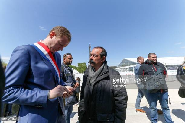 French workers union CGT general secretary Philippe Martinez takes part in a gathering of employees of the stateowned rail operator SNCF called by...