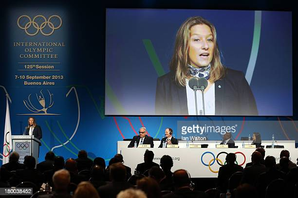 French Wrestling Federation VicePresident Lise Legrand speaks during an International Federation of Associated Wrestling Styles presentation during...