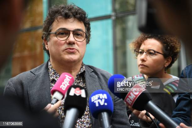 French writer activist and specialist of emergency medical services Patrick Pelloux answers to journalists following a meeting between French Health...