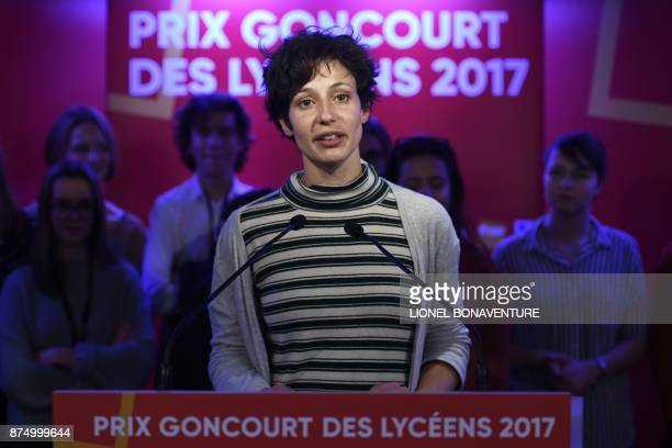 "French writer Alice Zeniter speaks after being awarded the Prix Goncourt des Lyceens for her novel ""The Art of Losing"" on November 16 in Paris. / AFP..."