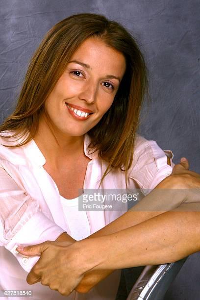 French writer Amandine Cornette de Saint Cyr on the set of television show 'Esprits Libres'