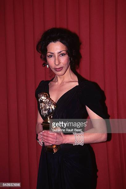 French writer and actress Yasmina Reza during the 9th evening of the Molieres of French Theater with her trophy for her role in the play Art