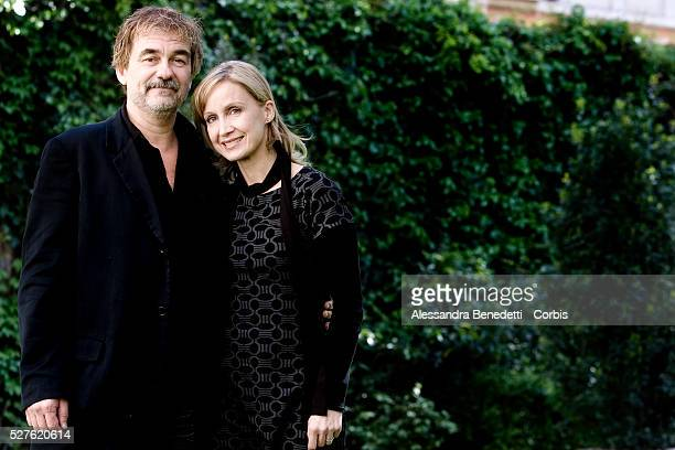 French writer and director Olivier Marchal and actress Catherine Marchal attend the photocall for the film 'MR 73' in Rome