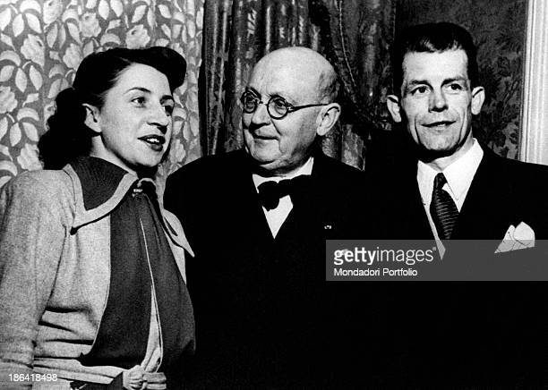 French writer and doctor Georges Duhamel posing smiling in company of Renée Bidault and Charles Agnel 1950s
