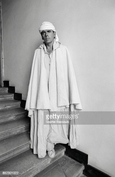 French writer and lampoonist JeanEdern Hallier dresses as Father De Foucault one of the characters from his novel De l'autre cote du vent published...