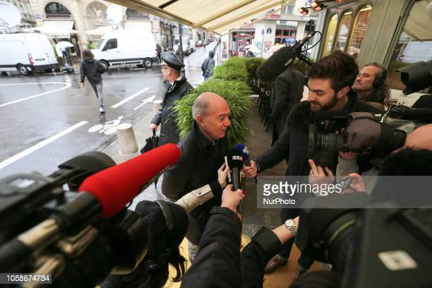 French writer and member of jury for Frances Goncourt literary prize Pierre Assouline arrives at Drouant restaurant in Paris on November 7 2018 for...