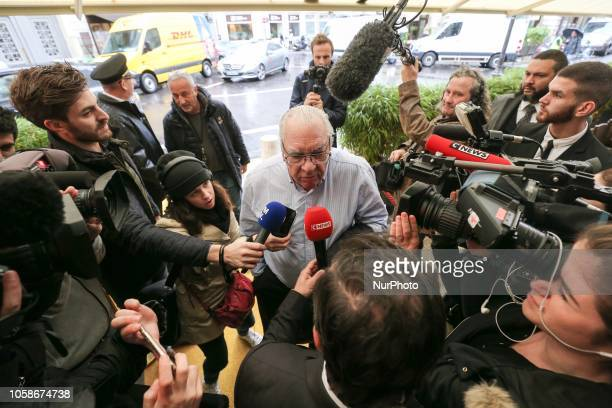 French writer and member of jury for Frances Goncourt literary prize Didier Decoin arrives at Drouant restaurant in Paris on November 7 2018 for the...