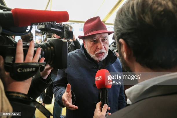 French writer and member of jury for Frances Goncourt literary prize Tahar Ben Jelloun arrives at Drouant restaurant in Paris on November 7 2018 for...