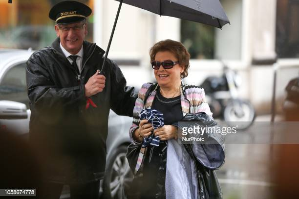 French writer and member of jury for Frances Goncourt literary prize Françoise Chandernagor arrives at Drouant restaurant in Paris on November 7 2018...