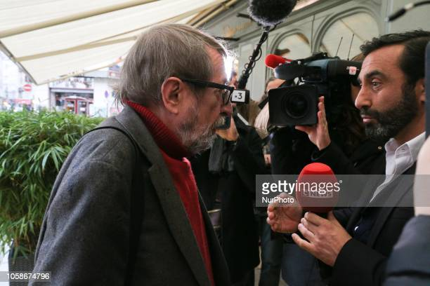 French writer and member of jury for Frances Goncourt literary prize Patrick Rambaud arrives at Drouant restaurant in Paris on November 7 2018 for...