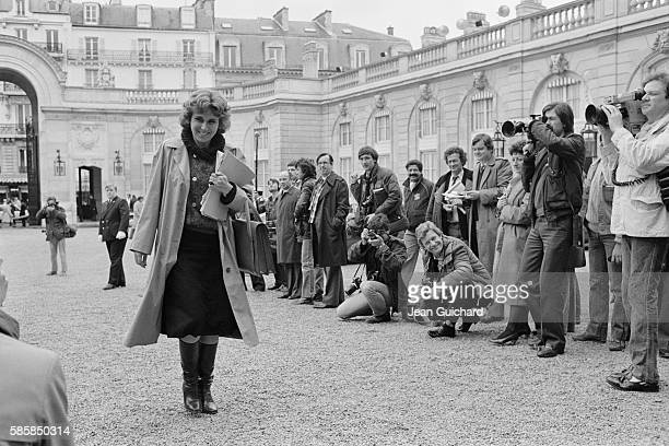 French writer and Minister for Trade Edith Cresson arrives at the first Council of Ministers of the government of Prime Minister Pierre Mauroy