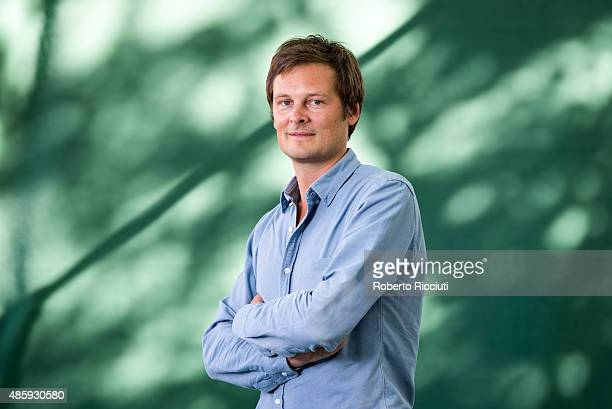 French writer and physician Christophe Galfard attends a photocall at Edinburgh International Book Festival on August 30 2015 in Edinburgh Scotland