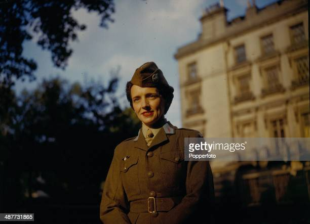 1943 French writer and war correspondent Eve Curie daughter of scientist Madame Marie Curie in the uniform of the French Volunteer Corps during...