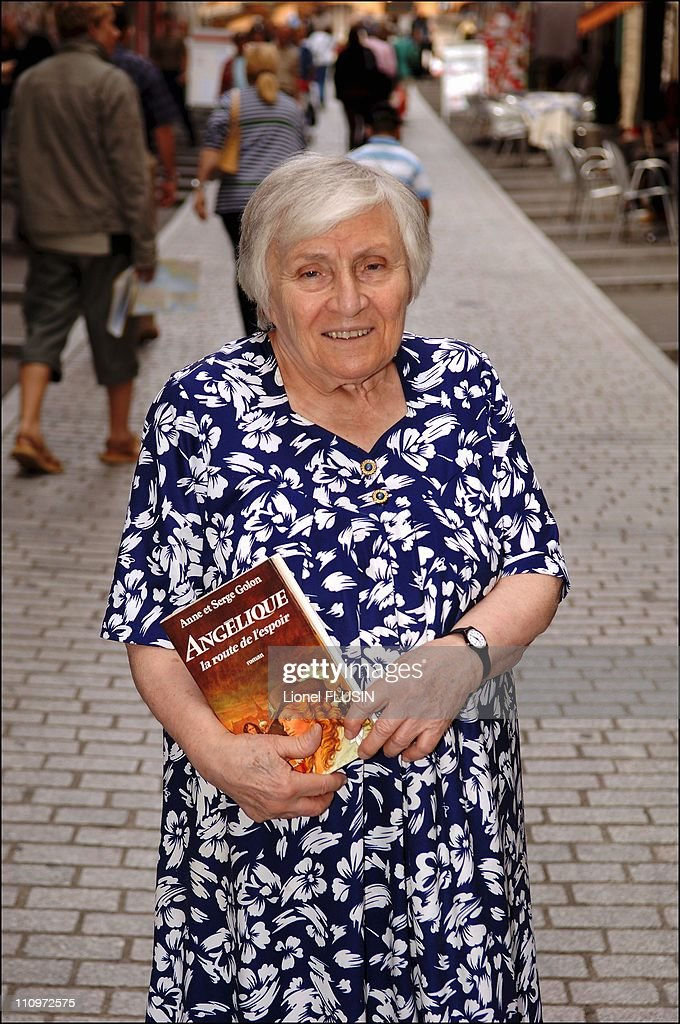 Close up of French writer Anne Golon, author of Angelique, Marquise of the Angels in Lausanne, Switzerland on July 05th, 2005. : News Photo