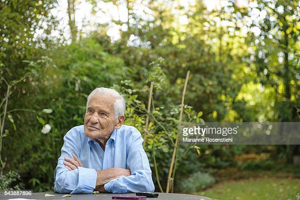 French writer columnist and philosopher Jean d'Ormesson at his home in NeuillysurSeine