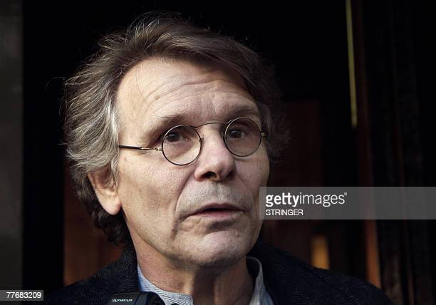 French writer Daniel Pennac, speaks to the press, 05 November 2007 in Paris after he received the 2007 French literature prize Prix Renaudot....