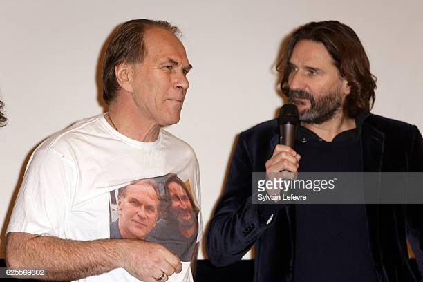 French writer director and jury president of Russian Film Festival Frederic Beigbeder and russian actor Aleksei Guskov before L'ideal screening on...