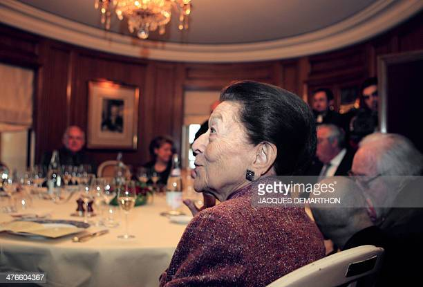 French writer Edmonde CharlesRoux is seen 05 November 2007 at the Drouant restaurant in Paris during the 2007 French literature prize Prix Goncourt...
