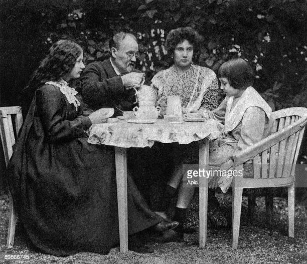 French writer Emile Zola and his mistress Jeanne Rozerot with the children Jacques and Denise in 1899