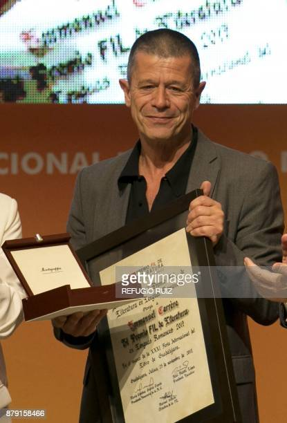 French writer Emmanuel Carrere is awarded the FIL Literature prize in Romance Languages at the International Book Fair in Guadalajara Mexico on...