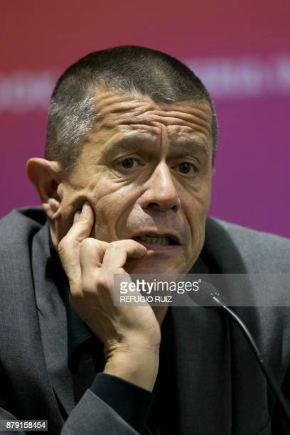 French writer Emmanuel Carrere speaks during a press conference at the International Book Fair in Guadalajara Mexico on November 25 2017 This year...