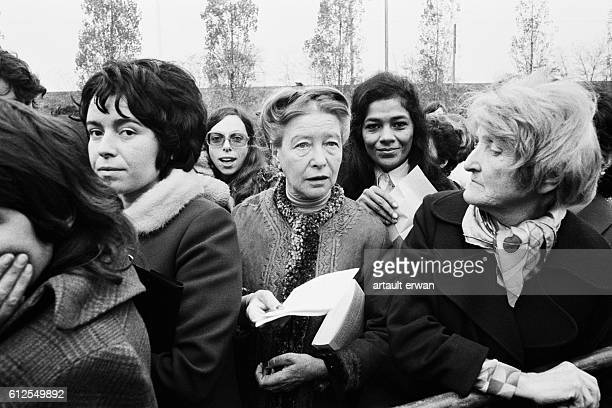 French writer, existentialist philosopher, political activist, and feminist Simone de Beauvoir during the Bobigny Abortion Trial.