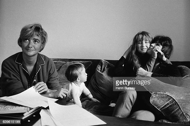 French writer Francoise Sagan her son Denis who she had with American sculptor Robert Westhoff and singer and actress Juliette Greco with her...