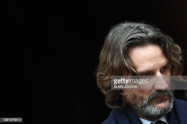 French writer Frederic Beigbeder attends the funeral ceremony for French music composer Michel Legrand at the Saint Alexandre Nevski Cathedral in...