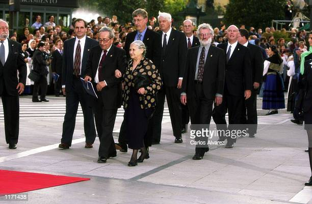 """French writer George Steiner and British writer Doris Lessing arrive at the """"Awards Prince of Asturias"""" Ceremony October 26, 2001 in Oviedo, Asturias..."""