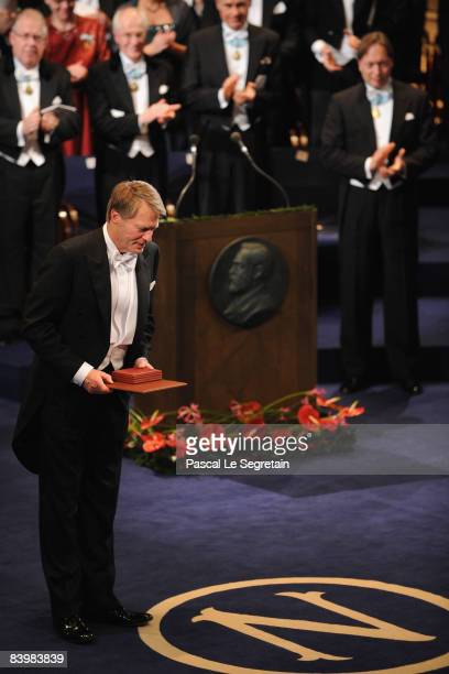 French writer Jean-Marie Gustave Le Clezio bows as he receives the 2008 Nobel Prize in Literature during the Nobel Foundation Prize 2008 Awards...