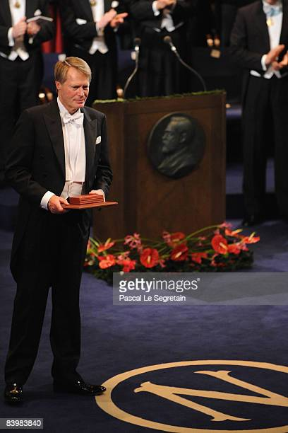 French writer Jean-Marie Gustave Le Clezio receives the 2008 Nobel Prize in Literature during the Nobel Foundation Prize 2008 Awards Ceremony at the...