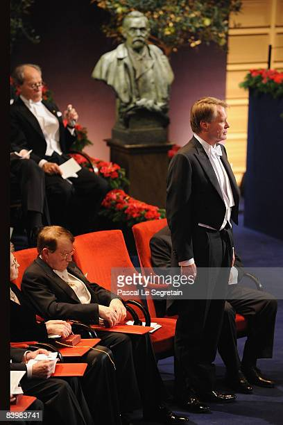 French writer Jean-Marie Gustave Le Clezio stands to receive the 2008 Nobel Prize in Literature during the Nobel Foundation Prize 2008 Awards...
