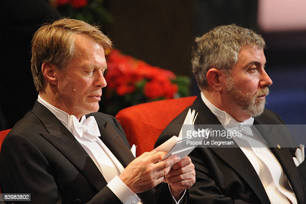 French writer Jean-Marie Gustave Le Clezio, winner of the 2008 Nobel Prize in Literature, and Nobel Prize winner in Economics Paul Krugman attend the...
