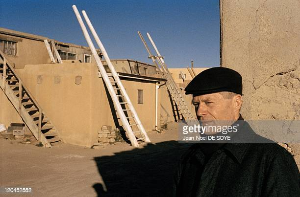 French writer JeanMarie Le Clezio in Albuquerque United States in 2006 In front of the Kivas place for Indians to pray The ladder symbolizes the...