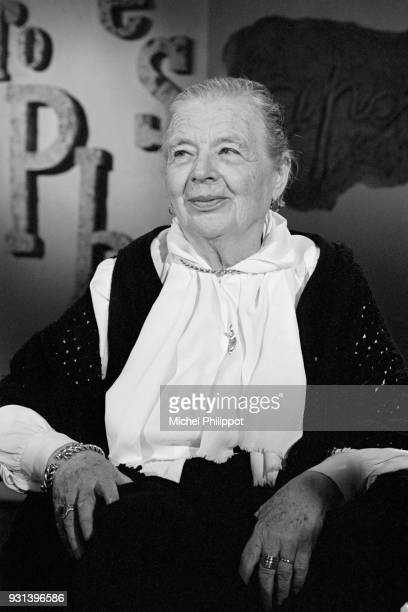 French writer Marguerite Yourcenar on the set of French literary television show 'Apostrophe' presented by Bernard Pivot