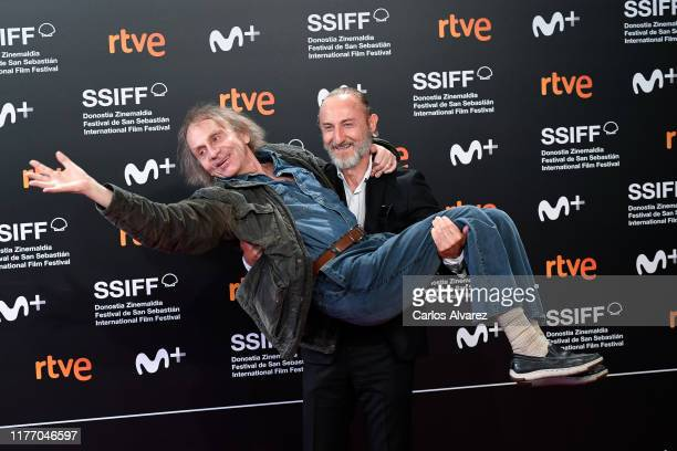 French writer Michel Houellebecq and director Guillaume Nicloux attend 'Thalasso' photocall during 67th San Sebastian International Film Festival at...