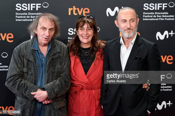 French writer Michel Houellebecq, producer Sylvie Pialat and director Guillaume Nicloux attend 'Thalasso' photocall during 67th San Sebastian...
