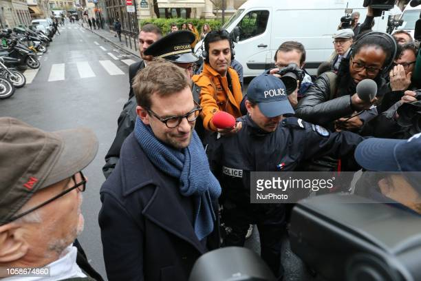 French writer Nicolas Mathieu arrives at Drouant restaurant in Paris after winning the Prix Goncourt France's top literary prize on November 7 2018