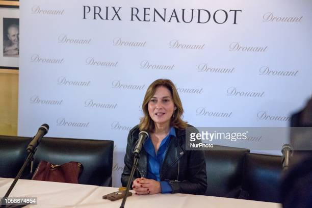 French writer Olivia de Lamberterie poses after she won the Prix Renaudot quotEssayquot French literary award on November 7 2018 in Drouant...