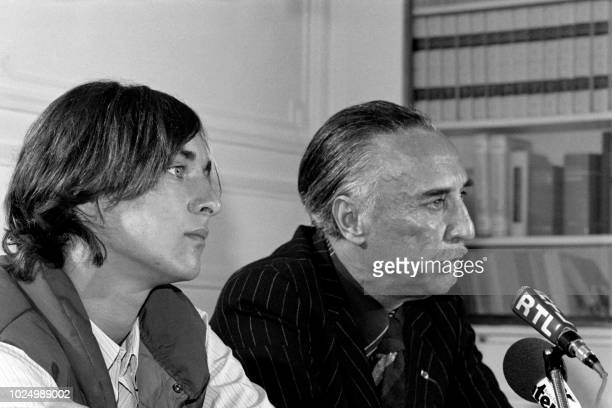 French writer Romain Gary former husband of Jean Seberg and Alexandre Diego Gary son of Romain Gary and Jean Seberg give a press conference on...