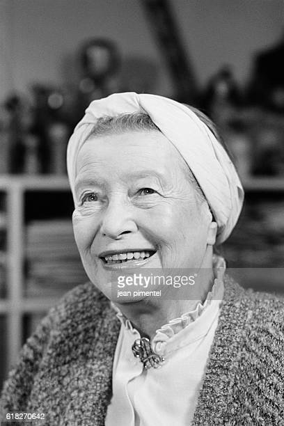 French writer Simone de Beauvoir during the filming of a documentary directed by Josee Dayan