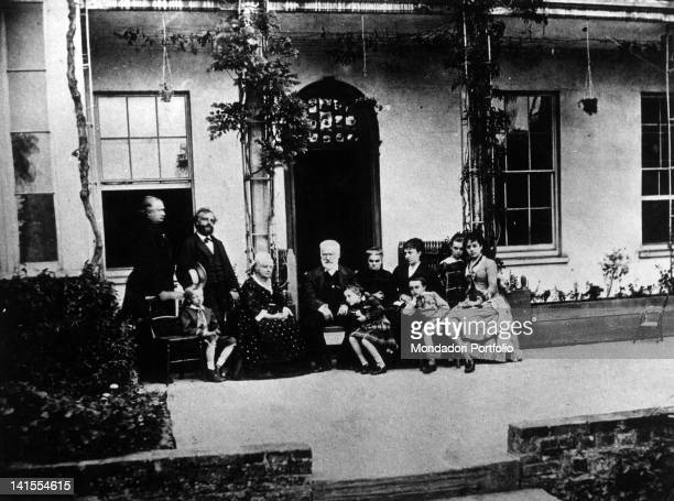 French writer Victor Hugo with his wife Adele Foucher and some relatives Summer 1878