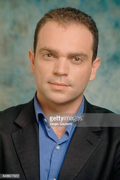 French writer Yann Moix on the set of TV show Ici Londres