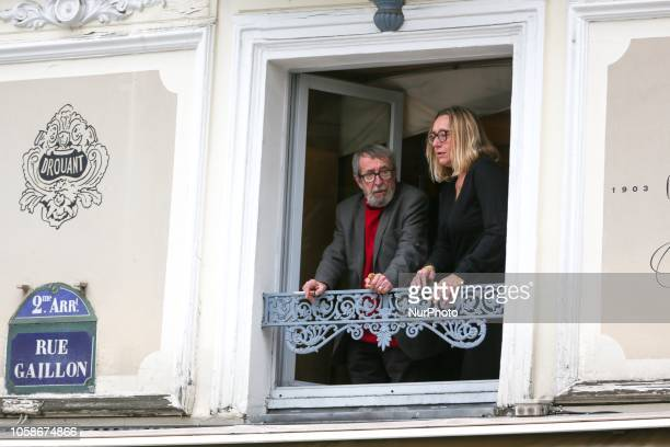 French writers and members of jury for Frances Goncourt literary prize Virginie Despentes and Patrick Rambaud talk to one another on the balcony of...
