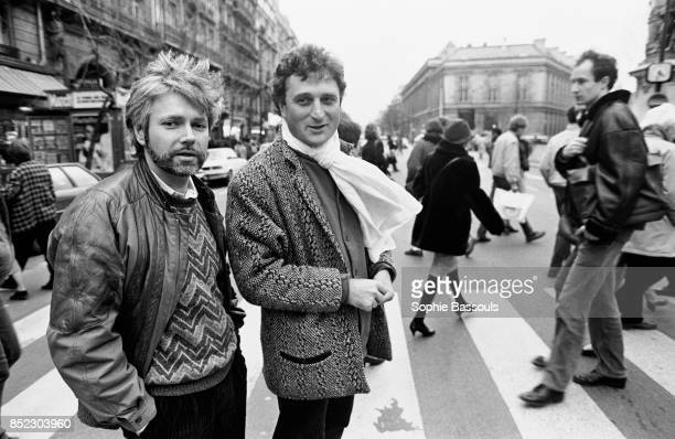 French writers Herve Hamon and Patrick Rotman cross a busy Paris street Hamon and Rotman have collaborated on several books