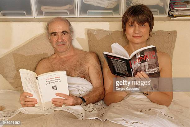 French writers Jacques Henric and Catherine Millet at home on the occation of the release of Millet's autobiographical work entitled La Vie Sexuelle...