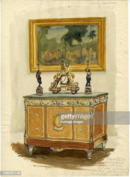 French XVIIIth century cabinet with gilt decoration and marble top' circa 1950 Painting above by Nicholas Lancret Artist Shirley Markham