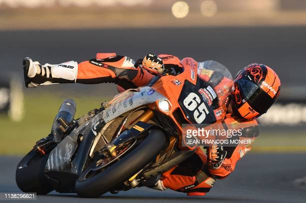 TOPSHOT French Yamaha YZF R1 Formula EWV rider N°65 Gregory Ortiz competes and gestures during the 42nd Le Mans 24hours endurance moto race on April...